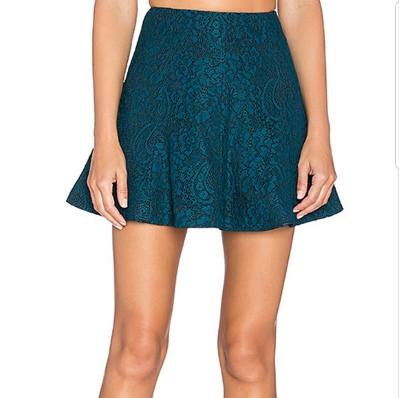 Lovers + Friends Dresses & Skirts - Lovers + Friends Tatum Skirt Teal Black Lace
